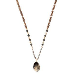 Brown Natural Stone Pendant Necklace
